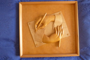Relief carving of hands