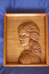 Relief carving of woman