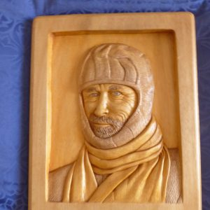 Relief carving of Douglas Mawson